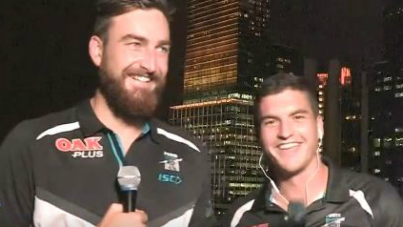 Port Adelaide's Charlie Dixon involved in hilarious interview with Tom Rockliff