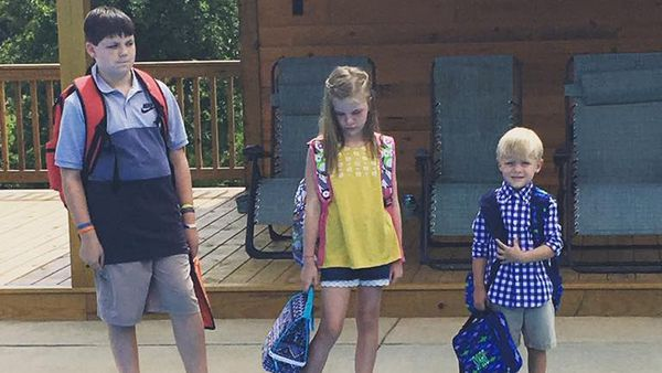Happy first day kids! Why the long faces? Ha ha ha. Image: Facebook/ Jena Willingham.