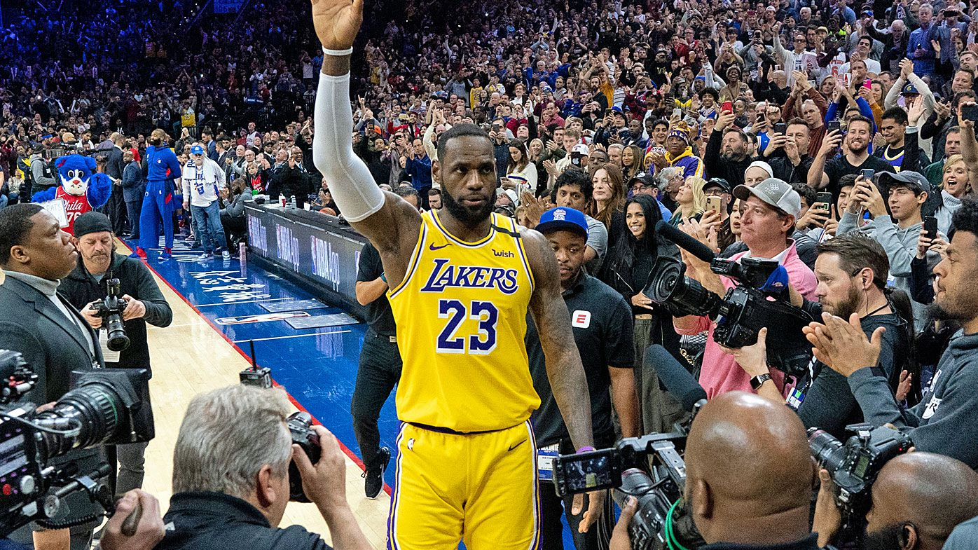 Los Angeles Lakers' LeBron James (23) reacts after moving to No. 3 on the NBA's career scoring list
