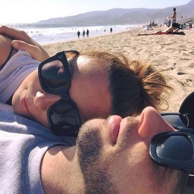 <p>Ricki-Lee Coulter and husband Rich Harrison</p>