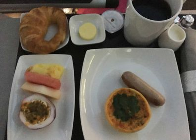 Hawaiian Airlines inflight business class breakfast