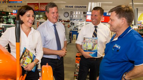 Tim Nicholls toured a hardware shop on day one of the Queensland election campaign. (AAP)