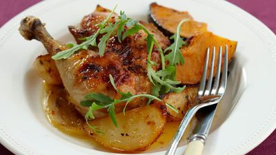 "Recipe:&nbsp;<a href=""http://kitchen.nine.com.au/2016/05/17/11/59/roasted-chilli-lemon-chicken-for-10"" target=""_top"">Roasted chilli lemon chicken<br /> </a>"