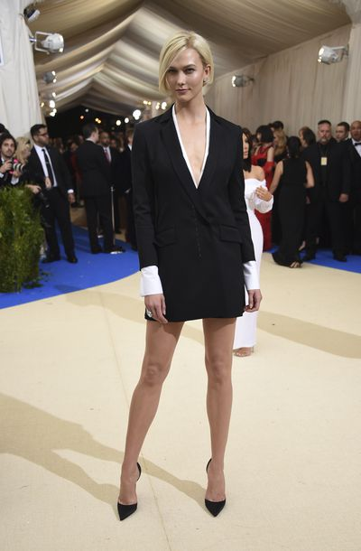 Karlie Kloss attends The Metropolitan Museum of Art's Costume Institute benefit gala celebrating the opening of the Rei Kawakubo/Comme des Garçons: Art of the In-Between exhibition on Monday, May 1, 2017, in New York.