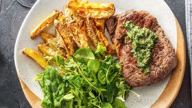 Sirloin steak with parmesan fries