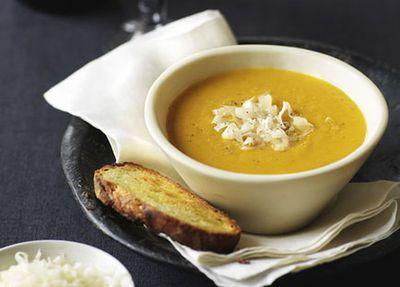 """Recipe:&nbsp;<a href=""""http://kitchen.nine.com.au/2016/05/19/15/05/pumpkin-soup"""" target=""""_top"""">Pumpkin soup<br /> </a>"""