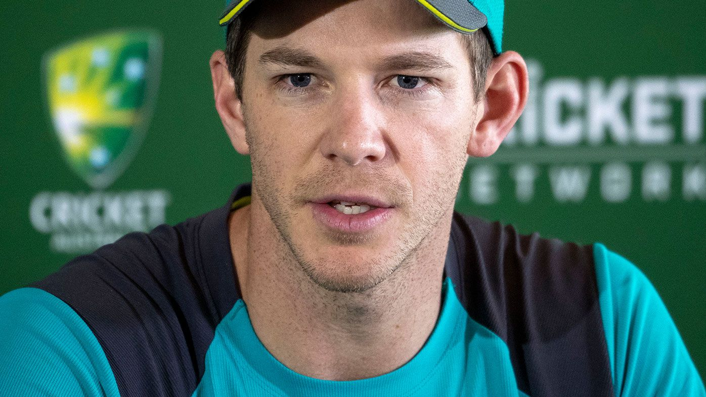 Tim Paine speaks to media