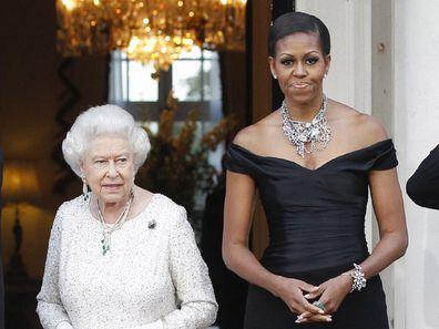 Former US First Lady Michelle Obama and Queen Elizabeth.
