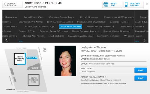 A diagram showing where Lesley Thomas' name is inscribed into bronze parapets surrounding the 9/11 Memorial pools, which are located in the footprints of the twin towers.