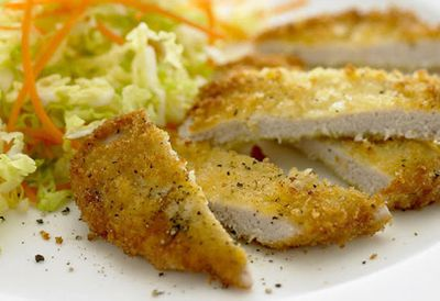Friday: Crumbed pork with cabbage salad