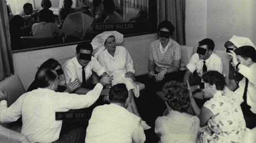 Psychiatric doctor Ian Kent and Matron McLean conduct LSD tests on patients at Rozelle Psychiatric Hospital in Sydney in 1964.