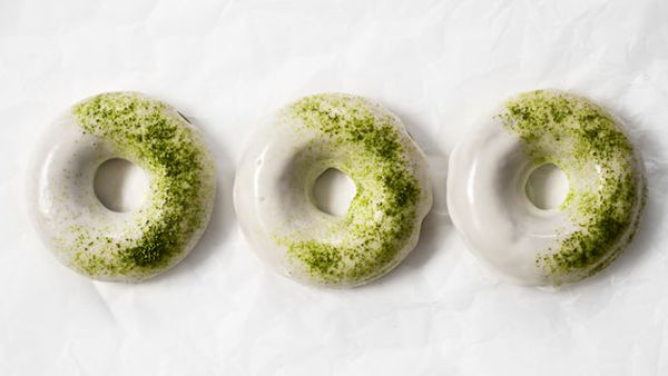 Baked matcha donuts with white chocolate glaze