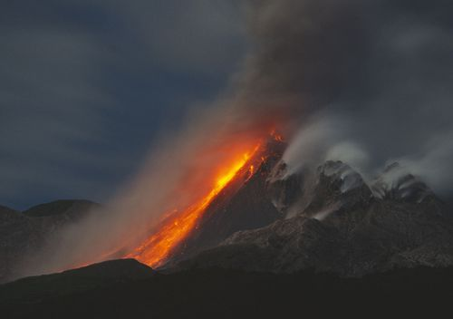 Lava flows down Soufrière Hills volcano on the Caribbean island of Montserrat.