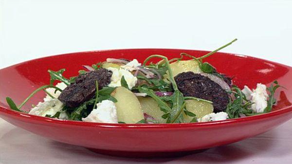 Kipfler potato, blood sausage and buffalo mozzarella salad, sherry vinaigrette