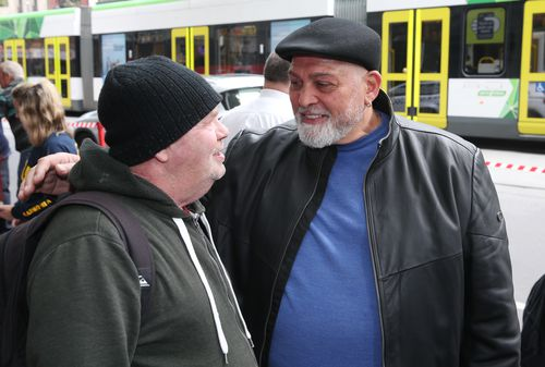 Mick Gatto (right) is seen at a fundraising launch in Melbourne, Thursday, October 10, 2019. The Salvation Army is calling for more accomodation for the homeless. (AAP Image/David Crosling) NO ARCHIVING