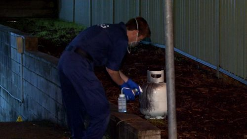Zhurawel ignited a gas bottle inside his car outside Merrylands police station. Picture: 9NEWS