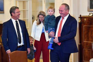 Barnaby Joyce holding son