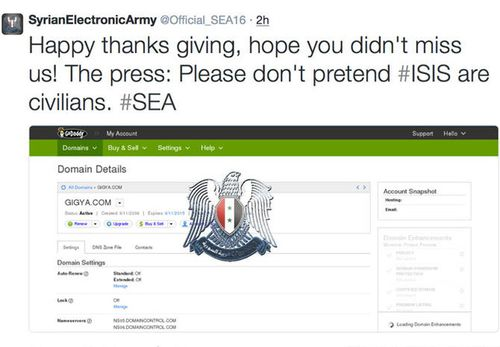 "The Syrian Electronic Army shares their ""thanks giving"" (sic) message on Twitter."