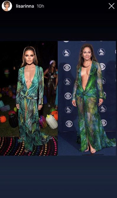 Lisa Rinna, Jennifer Lopez, Versace dress, Halloween, costume