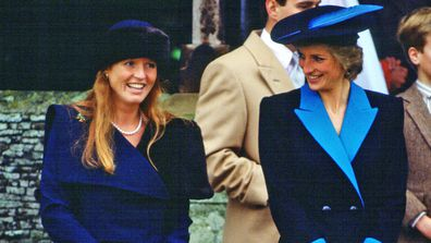 Princess Diana, Princess of Wales and Sarah Ferguson, Duchess of York attend the Christmas service at Sandringham 1988