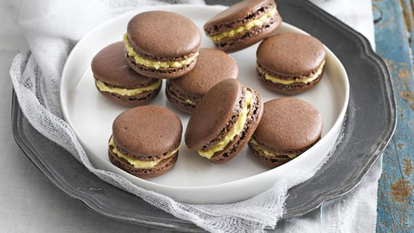 Weight watchers' chocolate and salted caramel macarons