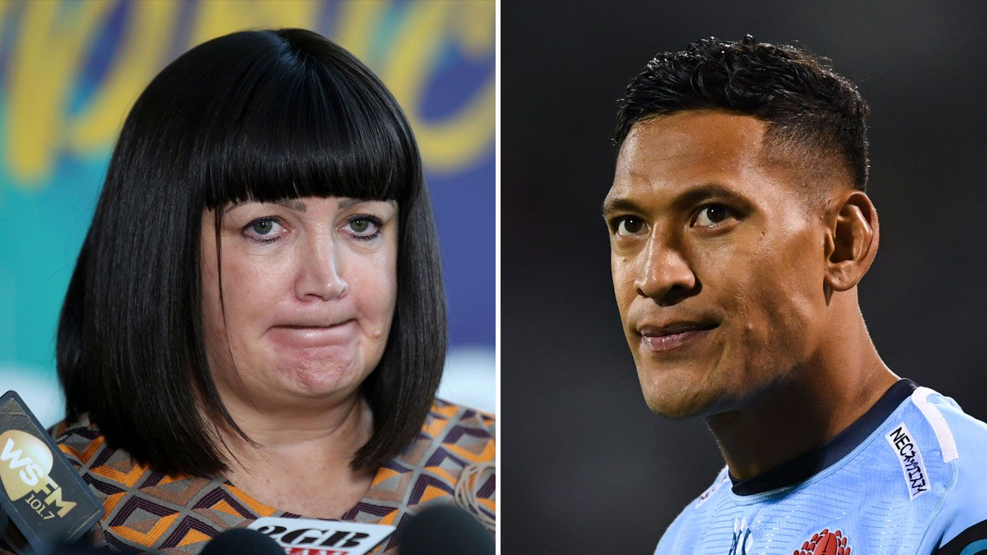 Rugby Australia boss Raelene Castle and Israel Folau