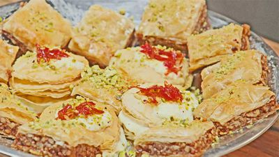 "Recipe: <a href=""https://kitchen.nine.com.au/2017/10/25/10/31/the-shahrouk-sisters-baklava"" target=""_top"">Family Food Fight: The Shahrouk sisters' baklava</a>"