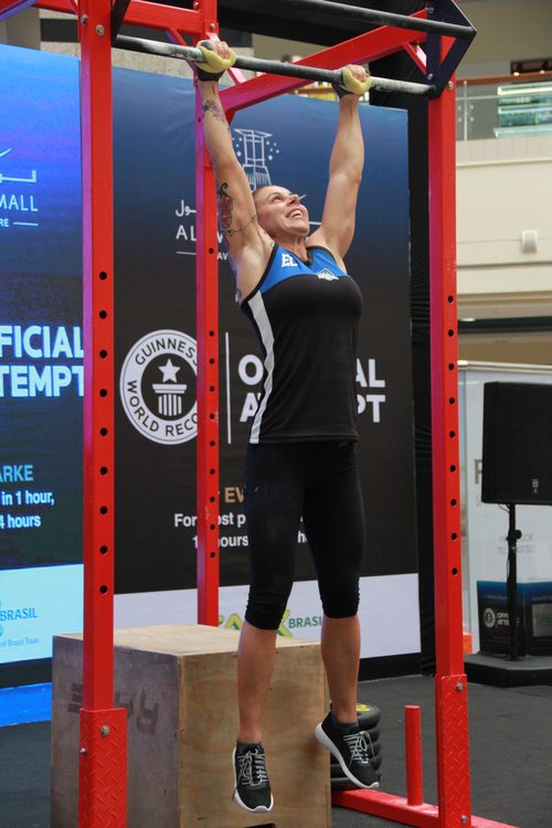 Eva Clarke broke a Guinness World Records attempt for most pull-ups in 24 hours, pumping out an astounding 3737 reps. Picture: Supplied