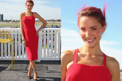 Rachael Finch was one of the first arrivals in this scarlet dress.<br/><br/>Image: Getty