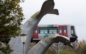 What a fluke: Dutch whale tail sculpture catches metro train