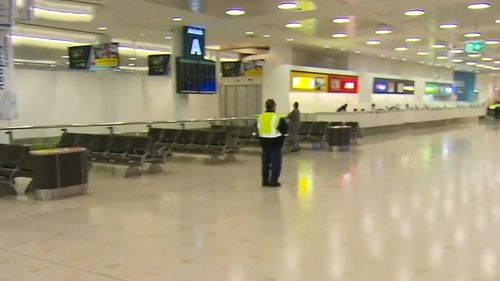 Sydney's International Airport was completely empty this morning ahead of the newlywed's imminent arrival, however.