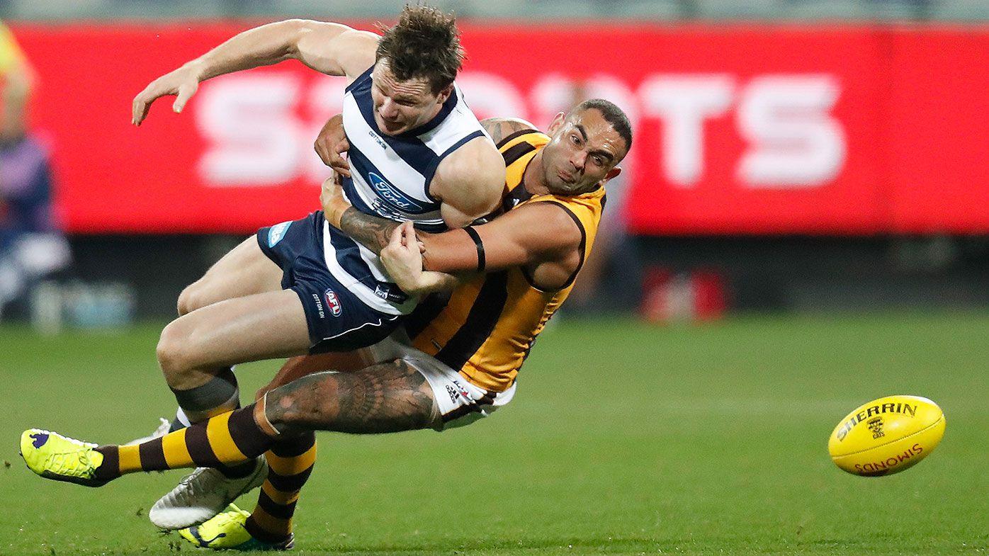 Hawthorn's Shaun Burgoyne in strife for dangerous tackle on Patrick Dangerfield