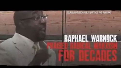 How Raphael Warnock appears in Kelly Loeffler's campaign ads.