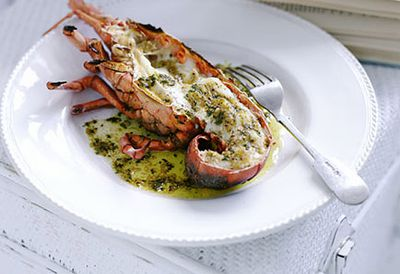 Grilled lobster with burnt butter