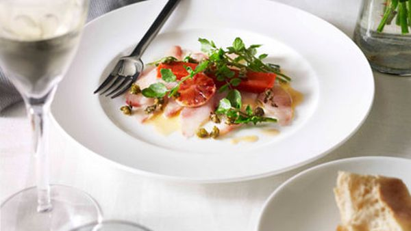 Guy Grossi: Kingfish carpaccio with blood orange, capers, watercress and piquillo