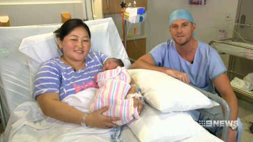 Proud mum Sainzaya Enkhtaiven with Westmead Hospital's Dr Hugh Porter. (9NEWS)