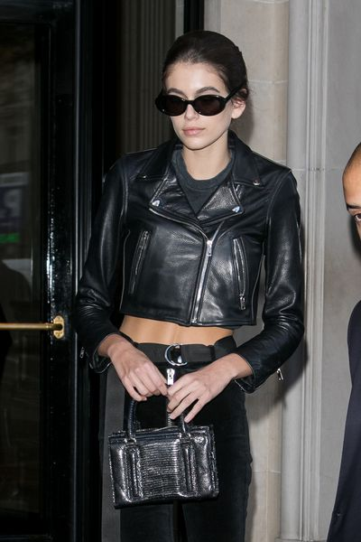 Kaia Gerber in a Laer cropped moto jacket in Paris, October 2017