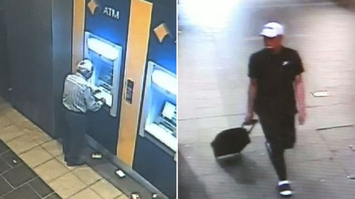 Police have released CCTV footage of his alleged attacker walking through nearby streets and pulling a small suitcase behind him.