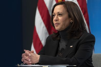 Vice President Kamala Harris  during a video conference on February 18, 2021