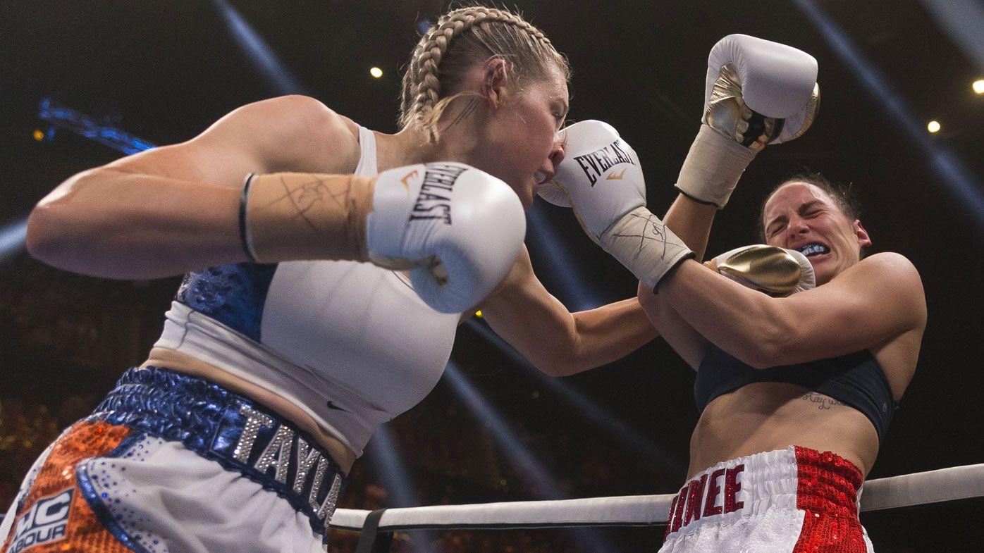 AFLW star Tayla Harris wins pro boxing bout against Renee Gartner via TKO