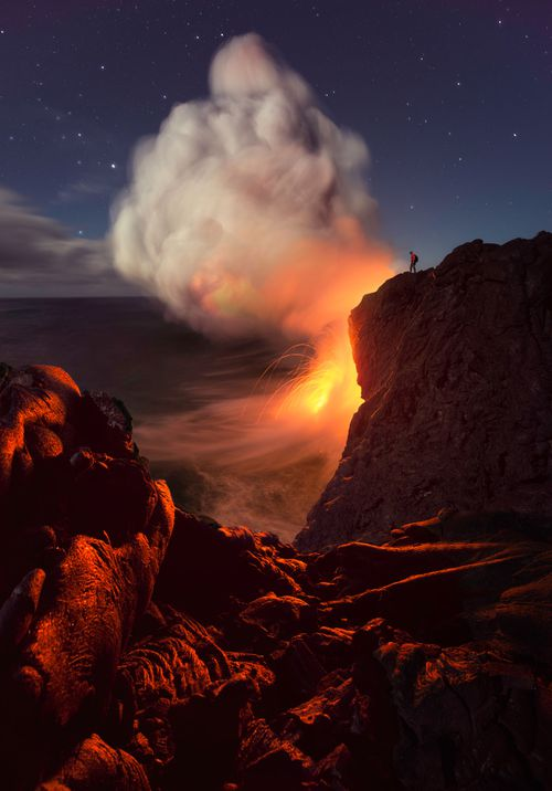 Hawaii's Kilauea volcano is spewing giant rocks and ash clouds.