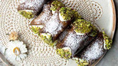 "<a href=""http://kitchen.nine.com.au/2016/11/08/14/44/cocoa-cannoli-with-ricotta-cannoli-al-cacao-ricotta"" target=""_top"">Paola Bacchia's cocoa cannoli with ricotta&nbsp;<br> </a>"