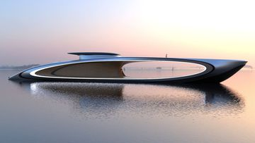 The futuristic super yacht with an intentional hole in the middle