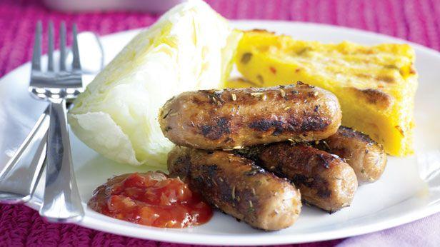 Chipolatta with grilled polenta