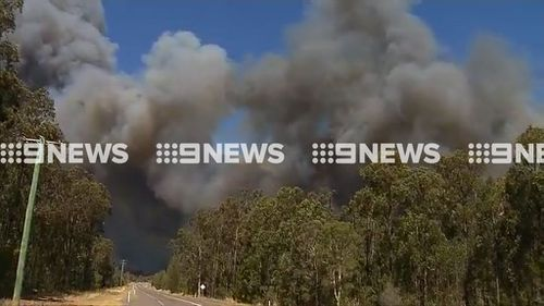 The Cessnock bushfire is blanketing the area with thick smoke. (9NEWS)