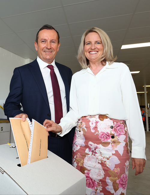 West Australian Premier Mark McGowan and his wife Sarah McGowan cast their votes at the Rockingham Early Voting Centre. Around 600,000 votes in WA have cast their ballot early.