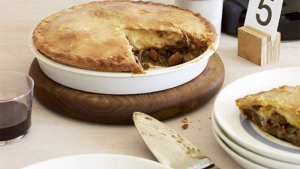 Brisket and Cheddar pie with sour cream pastry
