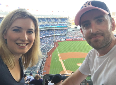 Katherine Firkin with her husband Michael at a Yankees game in the US.
