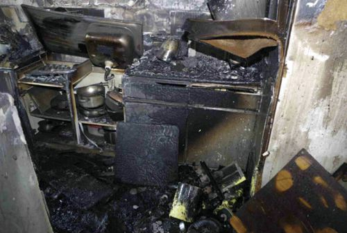 The kitchen in flat 16 where the fire started. (AAP)
