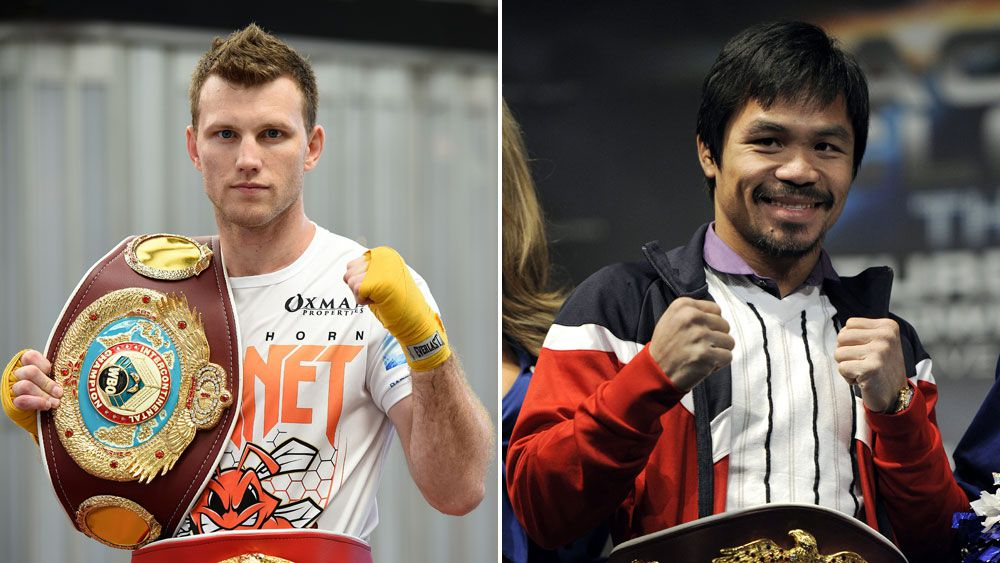 Jeff Horn and Manny Pacquiao. (AAP)